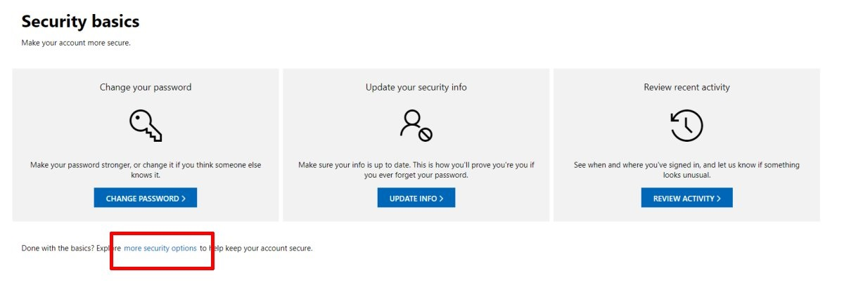 Two Factor Authentication for Microsoft Account