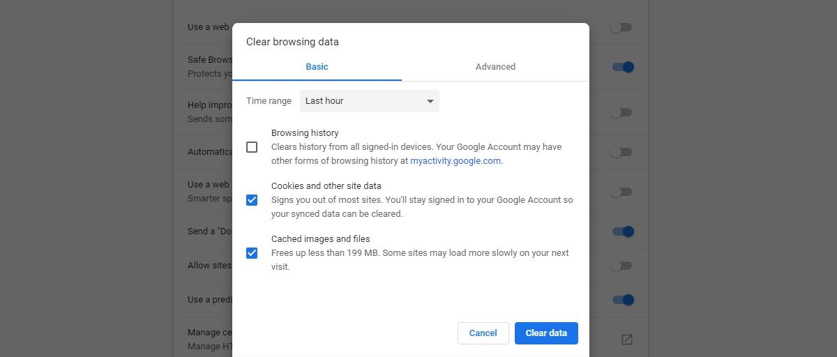 Clear Chrome Cache and Cookies