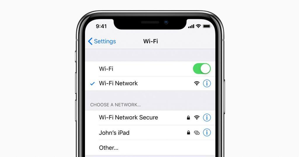 Wi-Fi Settings in iOS