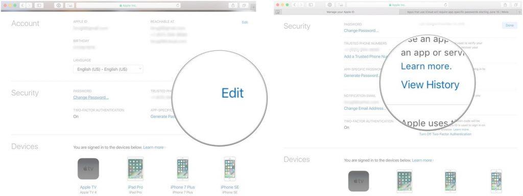 Edit iCloud Security
