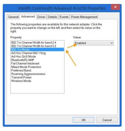 Enable 802.11n Mode in Windows 10