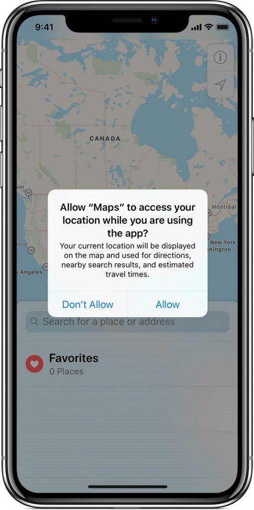 Maps Access in iOS 12