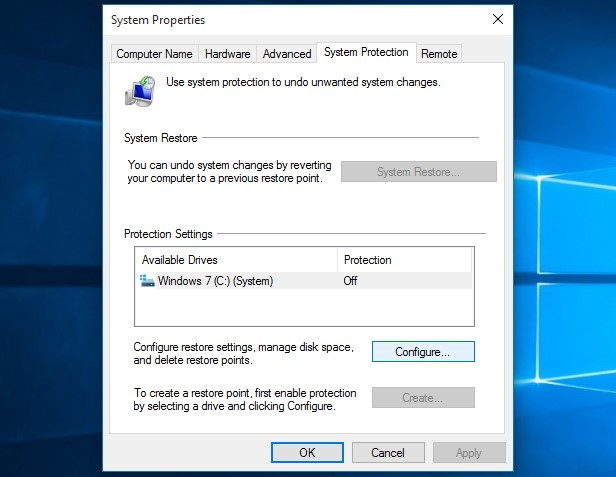 System Properties for Windows 10