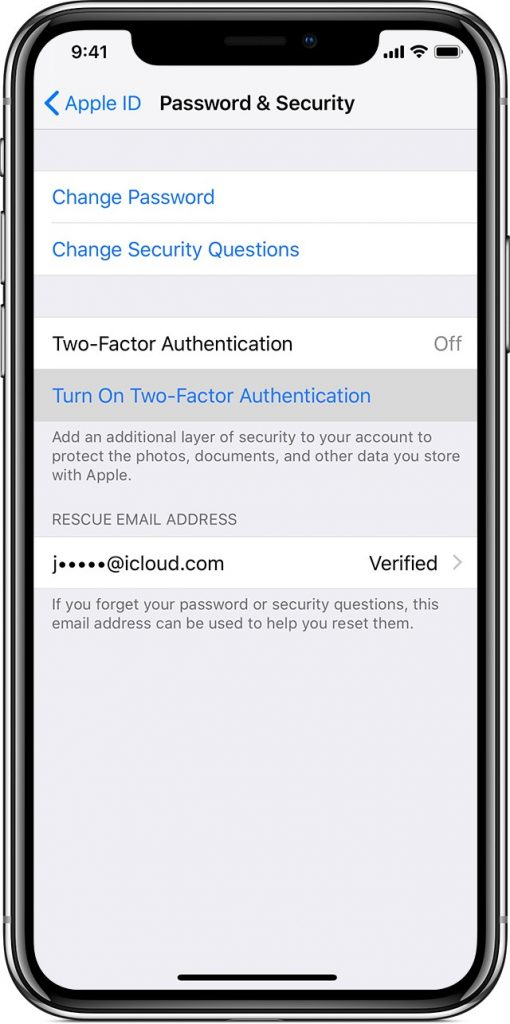 Turn On Two Factor Authentication For iCloud