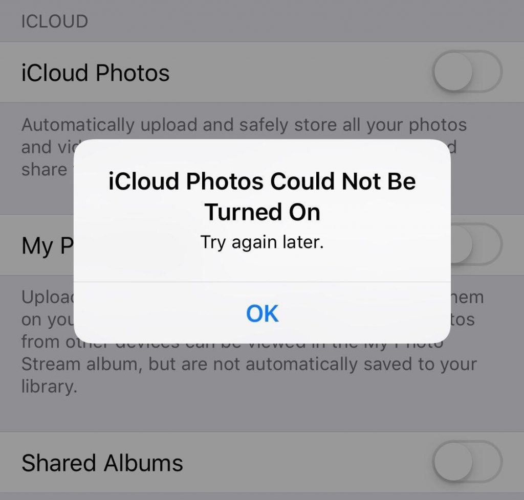 iCloud Photos Could Not be Turned On