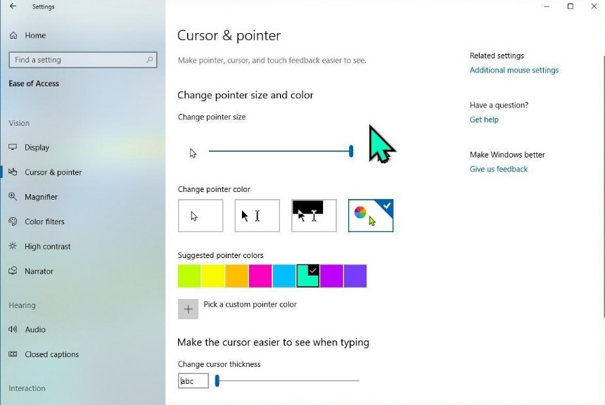 Cursor and Pointer Settings
