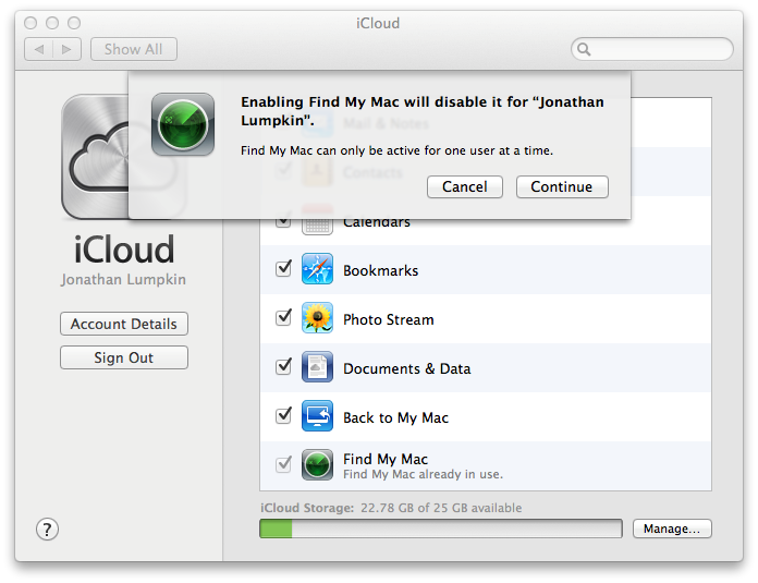 Disable Find My Mac from iCloud