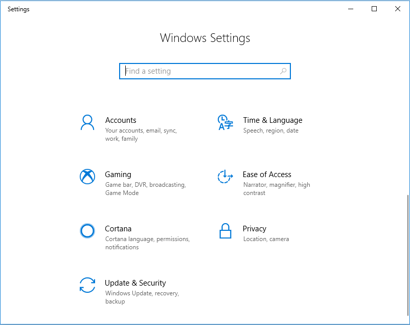 Ease of Access Windows Settings