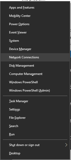 Network Connections from Context Menu