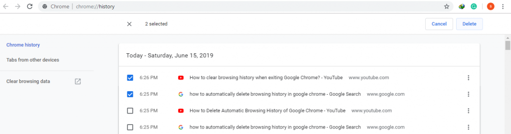 Select and Delete Google Chrome History Items