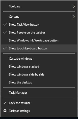 Show Touch Keyboard Button from Start Menu Context Items