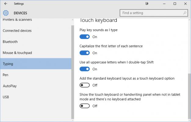 Windows 10 Touch Keyboard Settings
