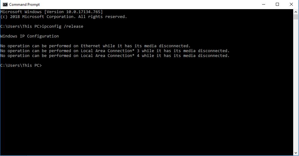 ipconfig /release command