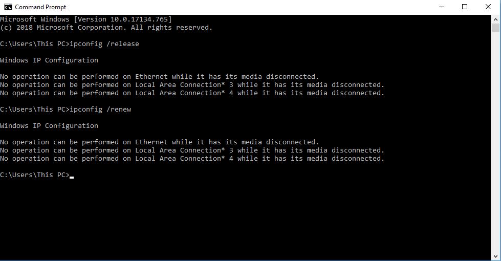 ipconfig /renew command