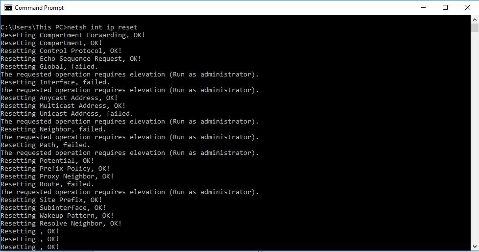 netsh int ip reset command