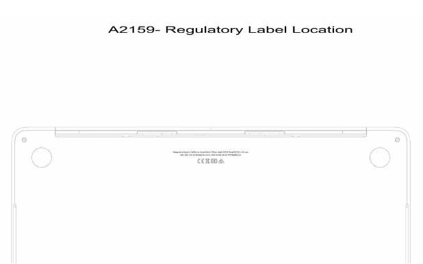 A2159 regulatory label location