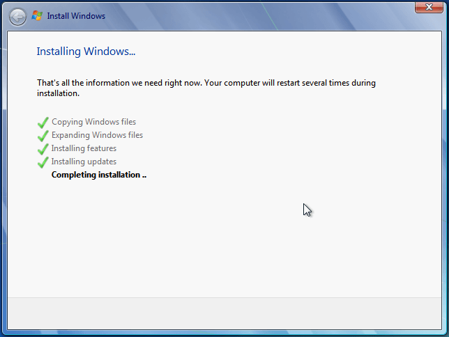 Completing installation