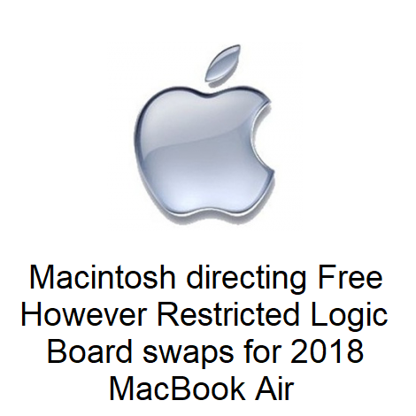 Macintosh directing Free however Restricted Logic Board swaps for 2018 MacBook Airs
