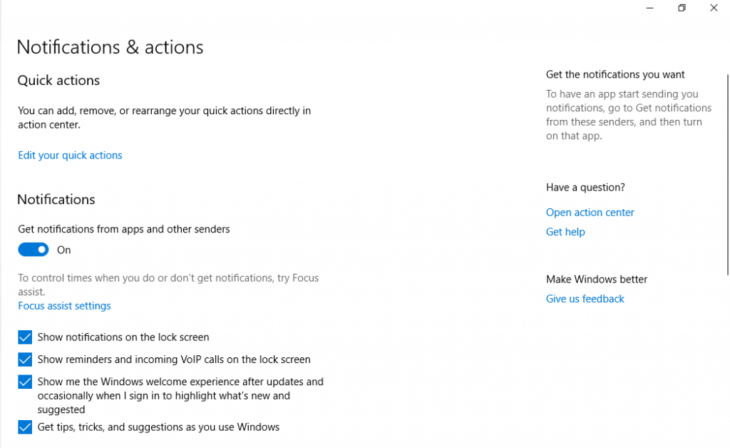 Notification and Actions