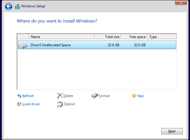 Partitioning the drive