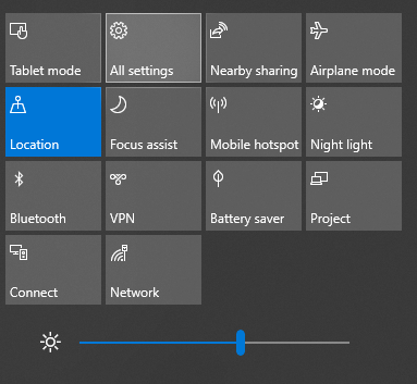 Settings from Action Center