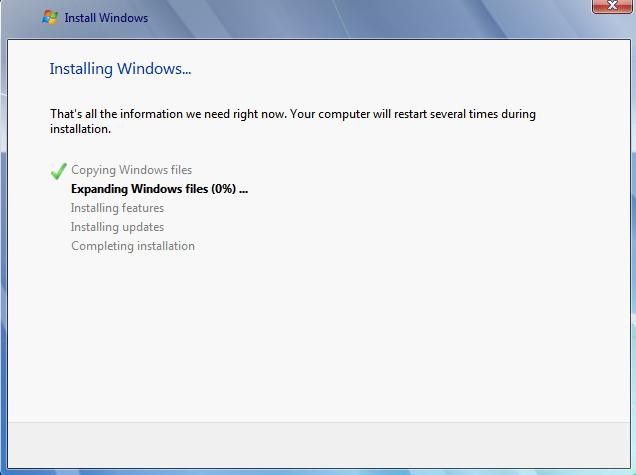 Wait while installing windows 7
