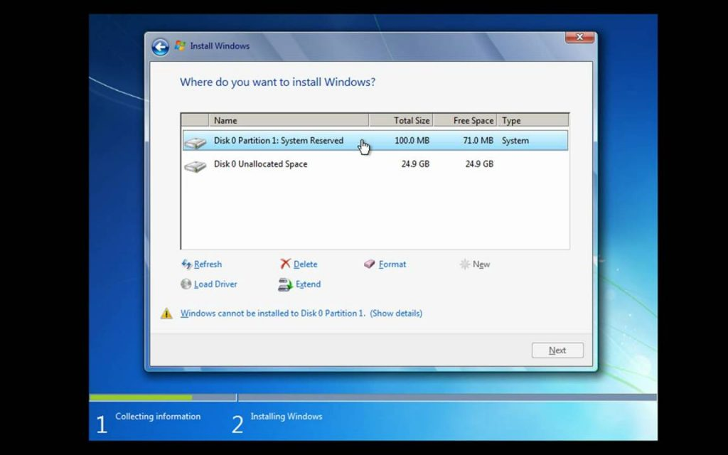where do you want to install windows 7