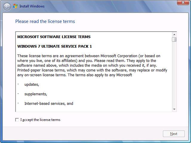 windows 7 license terms