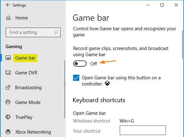 Game Bar screenshot in Windows 10