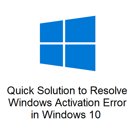 Quick Solution to Resolve Windows Activation Error in Windows 10