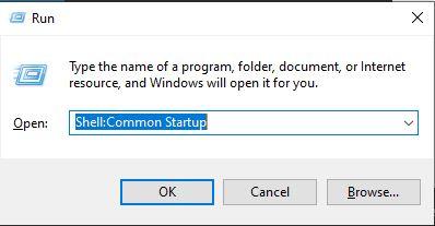Open Common Startup using Run
