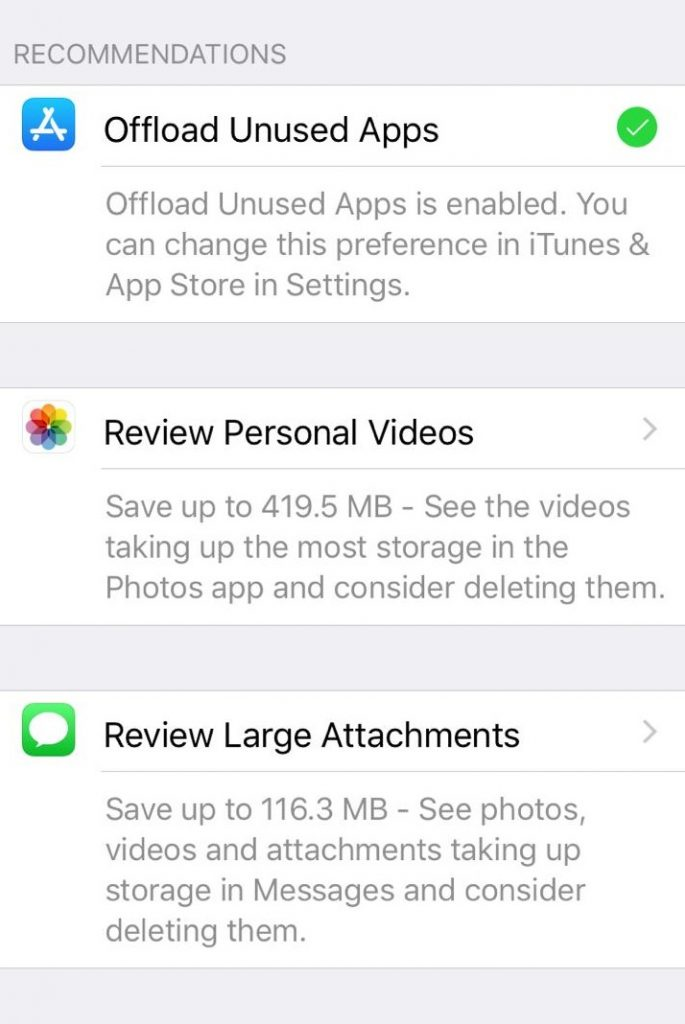 Recommendations to Free iPhone Storage
