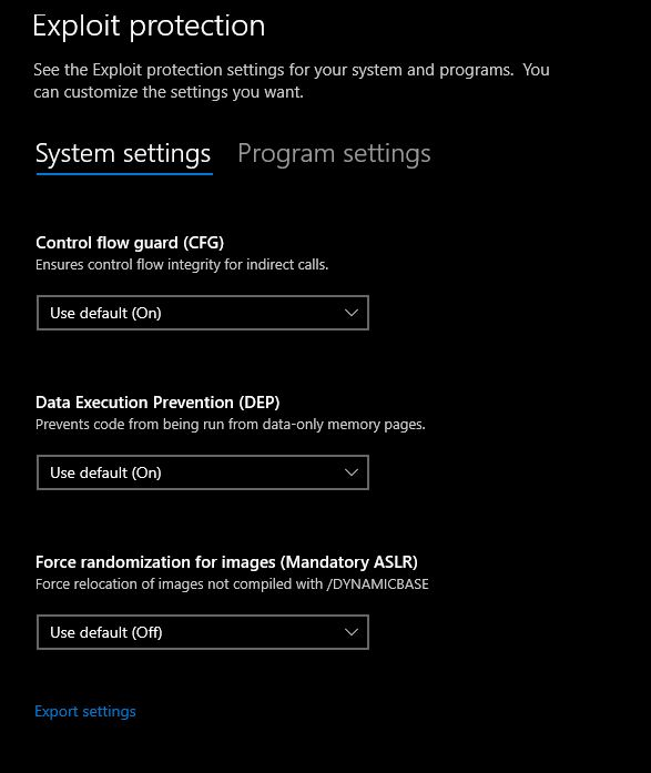 Exploit protection system settings