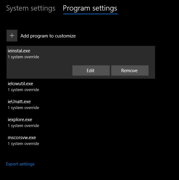 remove programs from exploit protection setting