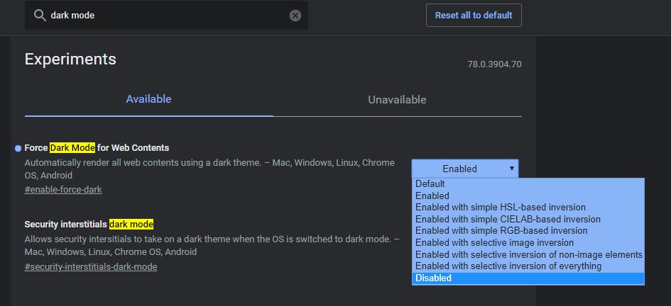 Disabling Dark mode on Google chrome