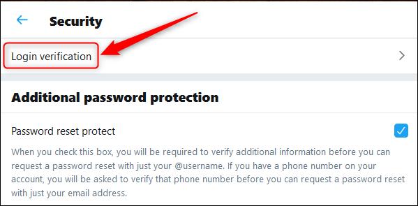 login verification option