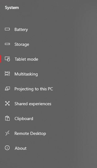 tablet mode settings