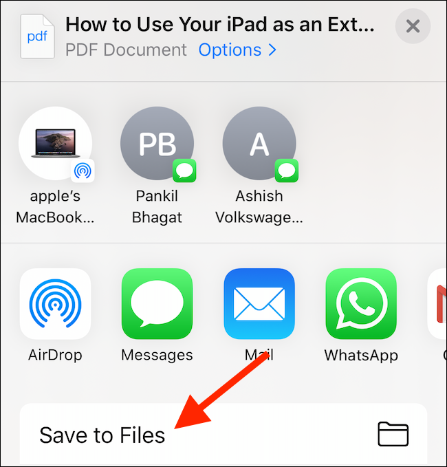 tap on save to files