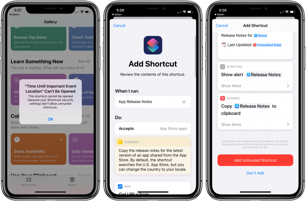 Allowing untrusted shortcuts in iOS 13