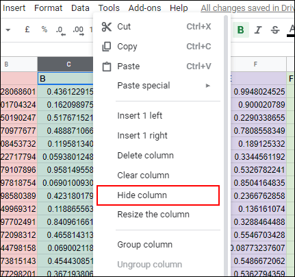Hide Column in google spreadsheet