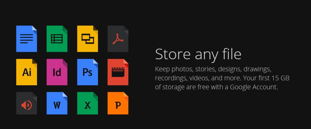 Store any file in Google Drive