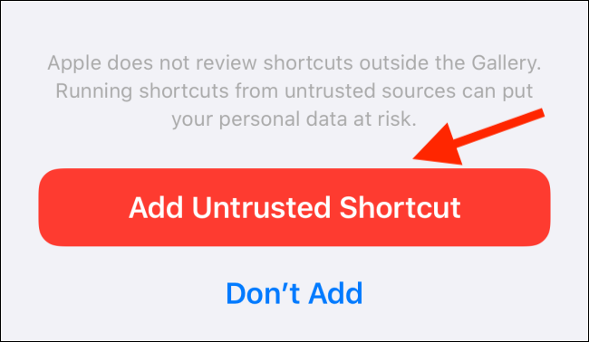 add untrusted shortcut