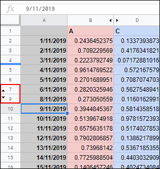 archive row in google spreadsheet