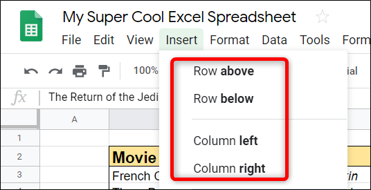 choose where to add rows and columns in