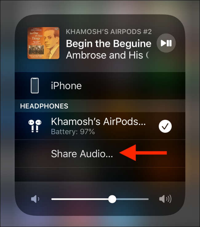 tap on share audio button