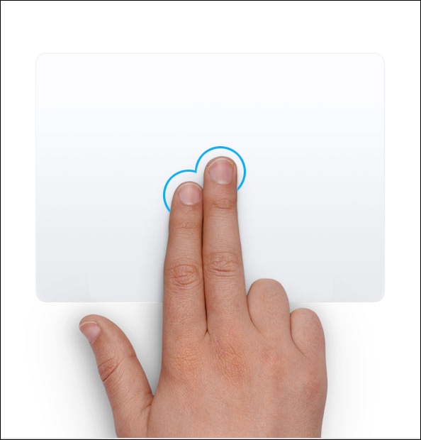 tapping with two fingers to double click