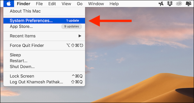 Click on Apple icon and select system preferences