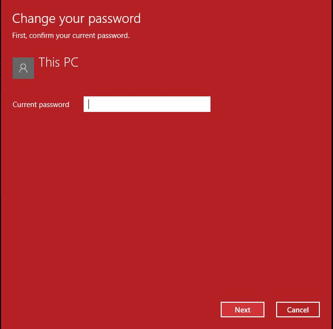 type in the old password