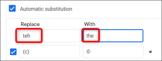 use automatic substitution as autocorrection