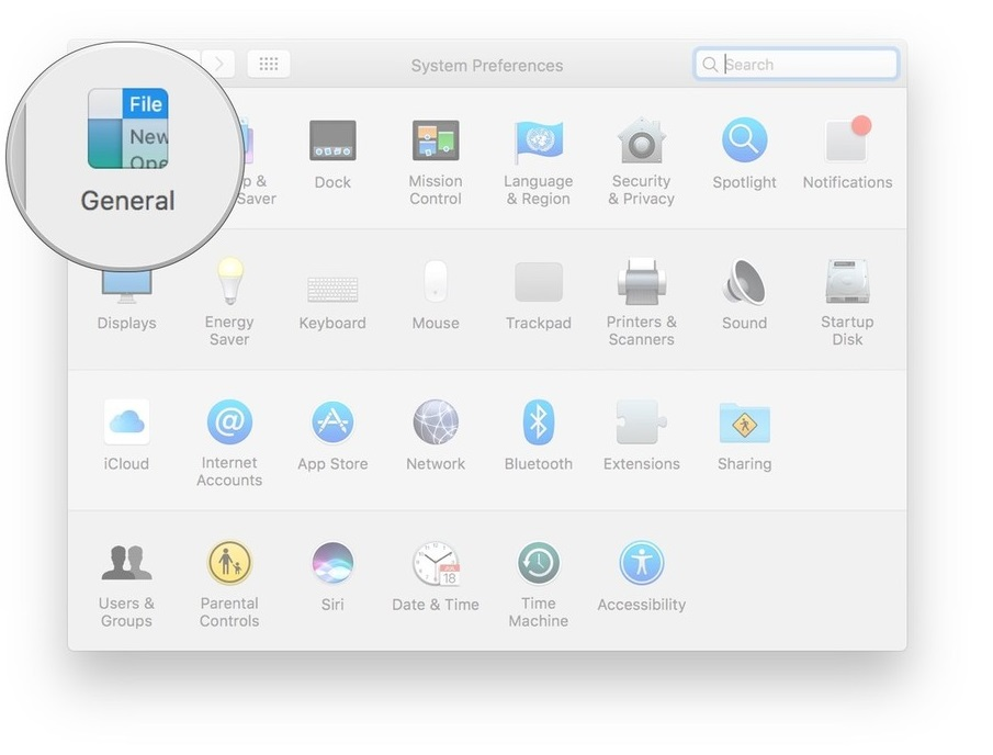 General in system preferences
